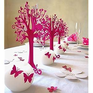 Kommunion |Herzbaum| Tischdeko| mit weißen schmetterlingen | höhe 23cm pink 10 stk mit 100 Schmetterlingen zum selbst ankleben