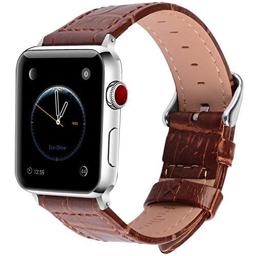 Fullmosa 2 Farben für Apple Watch Armband 38mm, Bambus Textur Hauptschicht Rindsleder Lederarmband mit Edelstahlschließe für Apple Watch Series 1 Series 2 Series 3, Braun 38mm
