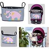 Para bebés Homgaty a carrito de paseo organizador de la rejilla para carrito de bebé colgante con texto en inglés bolsa para la compra de múltiples conexiones de la marina de guerra de almacenamiento de bolsa para la compra