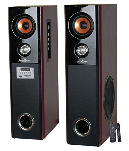 Jack Martin JM 55 Wooden Tower Speaker with Bluetooth/Pendrive/Aux/SD/Built in FM/, 1 Wireless Mic, with Recording & Karaoke Feature
