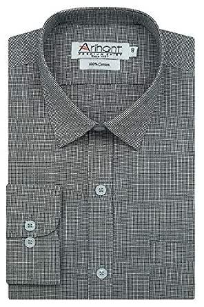 Arihant Black Pin Checks 100% Cotton Full Sleeves Regular Fit Formal Shirt for Men (AR818405_38)