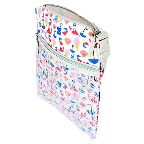 tiddlers & nippers - Nass / Trocken Tasche Für Baby | Auslaufsicherer Abschnitt für nasse Gegenstände / Windeln | Externer Abschnitt für trockene Gegenstände | Leicht, wasserdicht | Design - Strand