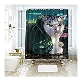 Beydodo Antischimmel 3D Duschvorhang 200x180 Kätzchen in Grüner Kleidung Vintage Duschvorhang