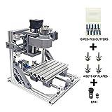 Wisamic DIY CNC Fräsmaschine 1610 GRBL, Arbeitsbereich 160 * 100 * 45mm DIY CNC Router Maschine 3 Achsen Mini Holz PCB Acryl Fräsmaschine Gravur Carving Maschine +10 Stück CNC Fräsbits Mit ER11