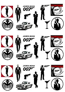 33 Stand Up James Bond 007 Themed Edible Wafer Paper Cake Toppers Decorations
