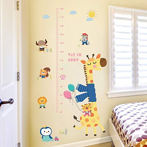 ELGDX Autocollant Mural Girafe Animal Grandir Hauteur Mesurer Règle Pépinière Enfants Maternelle Chambre Décor Amovible Décoratif Decal Sticker Mur Mural