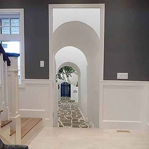 lzzfw Wandaufkleber Imitation 3D Modern Einfache griechische Porzellan Wasserdichte Dekoration Home Door Paste