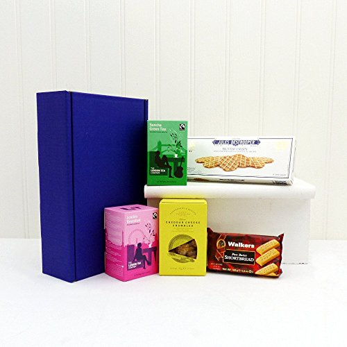 Brew in a Box Tea and Biscuits Hamper Presented in a Blue Gift Box - Gift Ideas for Mum, Mothers Day, Birthday, Corporate, Business gifts, Grandma, Student, Thank you presents