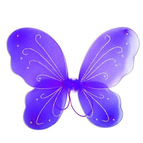 EFINNY Mädchen Bunter Flügel Prinzessin Schmetterling Zauberfee Partei Halloween gillter Geburtstag Cosplay Zubehör Eine Größe Dunkel Violett