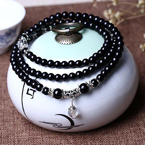K&C 108 perline 6 millimetri gemma braccialetto di energia delle donne degli uomini Nero Buddha Mala - Drago Quarzo Orologio