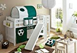 Spielbett mit Podest und Rutsche Tino, Buche weiß, 90 x 200 cm, Fußball