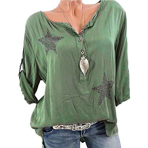 VJGOAL Damen Shirt, Sommer Top Frauen Mädchen Elegant Einfach Taste Rundhalsausschnitt Sieben Viertel Ärmel Pentagramm Heißes Bohren T-Shirt(Grün,36)