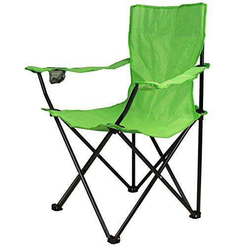 Nexos Angelstuhl Anglerstuhl Faltstuhl Campingstuhl Klappstuhl mit Armlehne und Getränkehalter praktisch robust leicht hellgrün