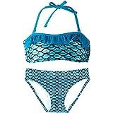 Fin Fun Mermaidens Bikini Set für Mädchen - Druck Squame Sirene, TPB4-TT-BT3-TT-L, Türkis, TPB4-TT-BT3-TT-L L