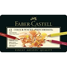 Faber-Castell 110012 - Estuche de metal con 12 ecolápices polychromos, multicolor