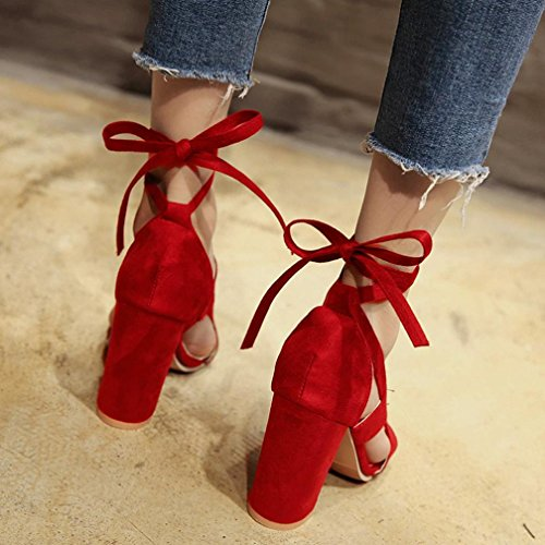 SOMESUN Sandali Col Tacco da Donna Interno All'aperto Super Alto Scarpe Col Tacco Tinta Unita Casuale Morbido Antiscivolo Tempo Libero Sandali Rosso