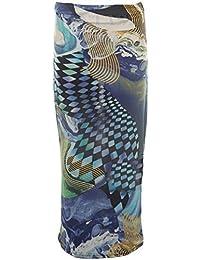 Unbranded by Fantasia Ladies Women's Leopard Rose Wave Cap Sleeve Crop Top Midi Pencil Skirt 8-14 [Blue Wave Skirt S/M]