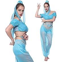 Maboobie - Disfraz de princesa árabe Jasmine Sexy para Mujer adulto Color Azul para Fiesta temáticas Carnaval Halloween (S)