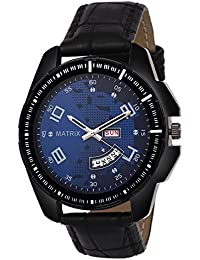 Matrix Silvermine Analog Blue Dial Wrist Watch Day And Date Display For Men & Boys- (DD-17)