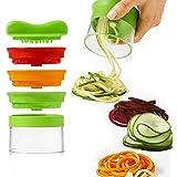 Espiral de verduras de mano de 3 hojas, espiral cortador crea Spaghetti sin fin Spaghetti, espiralizador de verduras y cortador, Spiralizer Vegetales Slicer (Green)