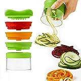 Spiral Slicer Spiralizzatore - Spaghetti di verdure e tre lame, Affetta Verdura a Spirale, zucchine Pasta tagliatella Spaghetti + Pennello (Verde)