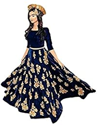 Ethnic Wings Women Banglory Silk Anarkali Semi-Stitched Salwar Suit (ERRWW_10610_Navy Blue_Free Size)