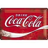 Nostalgic-Art 22235 Coca-Cola – Logo Red Wave – Idée de Cadeau pour Les Fans de Coke, en métal, Déco Design Retro, 20 x 30 cm