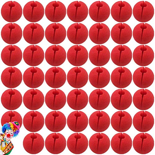 Poluka 48 Stück rote Clownnnase Schaumstoff Zirkus Comic Nase Maske Party Supplies für Halloween Trick Party Cosplay Kostüm Magic Dress Party Supplies 5 cm