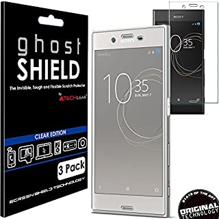 TECHGEAR [3 Pack] Screen Protectors to fit Sony Xperia XZs [ghostSHIELD Edition] Genuine Reinforced Flexible TPU Screen Protector Guard Covers with Full Screen Coverage inc Curved Screen