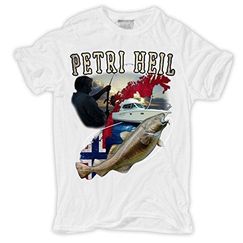 Männer und Herren T-Shirt Norwegen - Petri Heil Körperbetont weiß