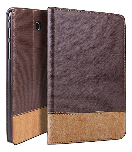 "Qinda Luxury Leather Smart Flip Case cover for Samsung Galaxy Tab A 8.0 8"" T350, T355, T351 (Sleep/Wake) (Dark Brown)"