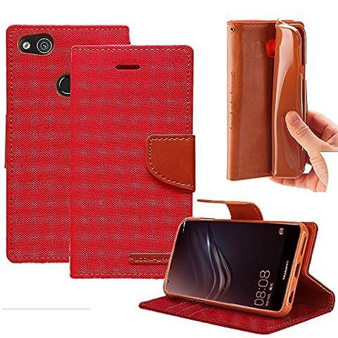 Huawei P8 lite 2017 Leinwand Hülle Case, [CANVAS DIARY] Rexang [ID Kreditkarten Slots] [Cash Pocket] Woven + PU Leder [Drop Protection] Flip Media Stand Cover für Huawei (P8 lite 2017, (Metallic One Pocket)