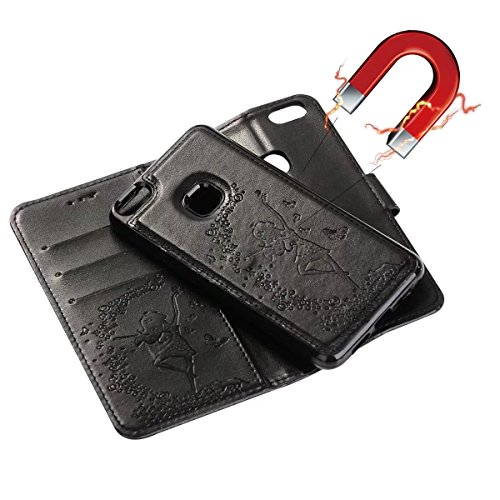 Abnehmbare 2 in 1 Crazy Horse Texture PU Ledertasche, Fairy Girl Embossed Pattern Flip Stand Case Tasche mit Lanyard & Card Cash Slots für Huawei P10 Lite ( Color : Rosegold ) Black
