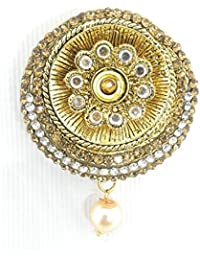 Saree Pin Brooch For Women & Girls, Gold Tone, Stone Stud, Round Shaped
