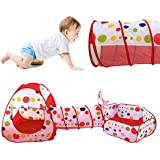 Play House Tent Tunnel, Indoor/Outdoor Play Tunnel and Play Tent Cubby-Tube-Teepee 3 In 1 Playground for Children Baby Kids Toys (Balls not included) (Red)