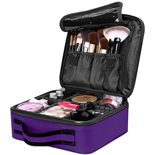 Travel Makeup Box, Luxspire Cosmetic Makeup Case Professional Makeup Train Case Portable Cosmetic Case Makeup Bag Organizer with Adjustable Dividers for Makeup Brushes - Purple - Travel Beauty Case