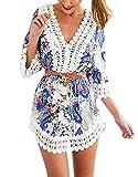 Damen Kimono Weinlese 3/4 Hülsen V-Ausschnitt hohle Spitze Stitching kurzes Kleid Sommerkleid Frauen Boho Geometrie Printed Lose Bluse Strandkleid(Darin nicht enthalten Gürtel)