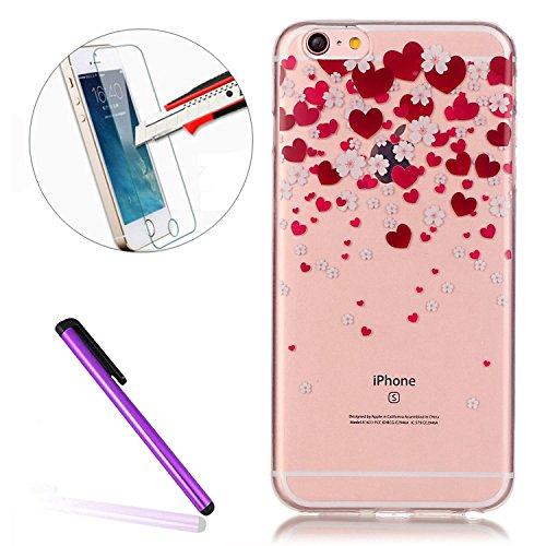 iPhone 7 Plus Clear Transparent Glitzer Case,Glitzer Transparent Hülle für iPhone 7 Plus,iPhone 7 Plus Crystal Clear Hardcase Case Hülle Liquid Gel Schutzhülle Etui für iPhone 7 Plus 5.5 Zoll,EMAXELER Hearts 1