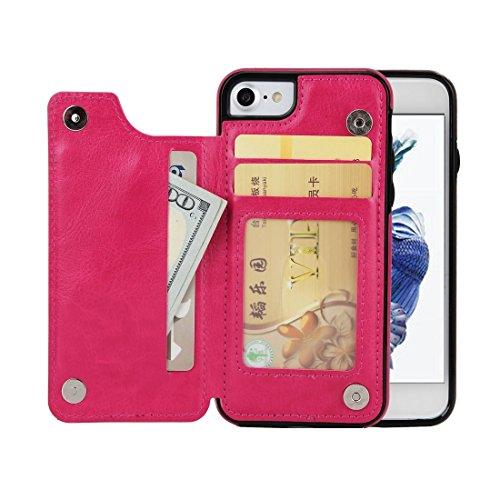 Wkae Crazy Horse Texture Leder Rücken Schutzhülle mit Halter & Card Slots & Brieftasche Für iPhone 7 4,7 Zoll ( Color : Magenta ) Magenta