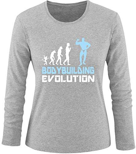 EZYshirt® Bodybuilding Evolution Damen Longsleeve Grau/Weiss/Hellbl