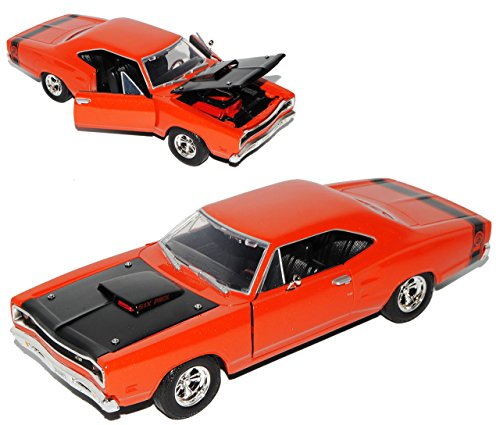dodge-coronet-super-bee-1969-coupe-orange-baugleich-plymouth-belvedere-1-24-motormax-modell-auto