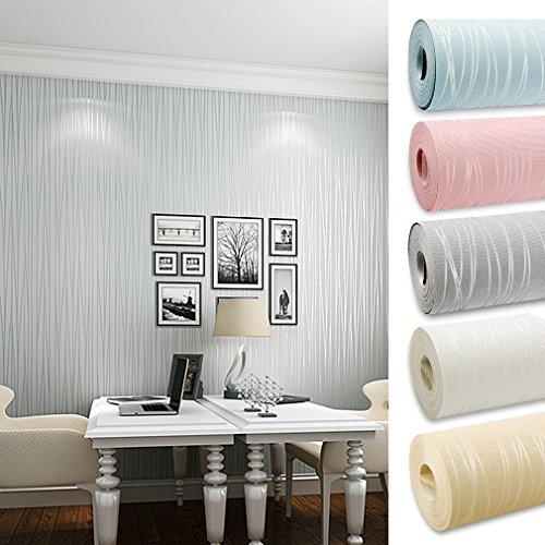 Kinlo 10 x 0.53M Wandtapete 3D-Tapete Vliestapete,3D Relief Tapete Dekoration für TV Wand Wohnzimmer Schlafzimmer und Hotel - Grau