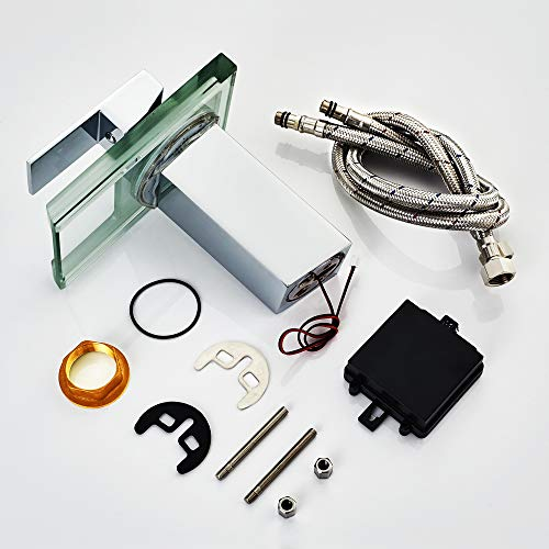 Auralum® Elegant LED RGB Glass Mischbatterie Armatur Wasserhahn Chrom Wasserfall Waschtisch Waschtischarmatur für Bad Badezimmer Küchen - 6