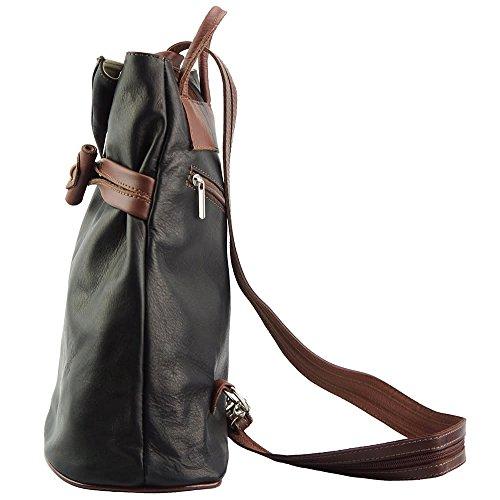 11e407e35b721 ... Rucksack-Tasche und Schultertasche Fiorella mit vielen Taschen aus  echtem Leder aus Italien Schwarz  ...