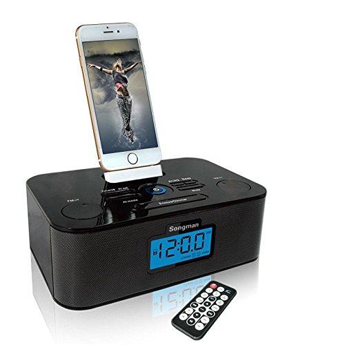 HEDDK Gute Qualität iPA-219 - iPhone/iPod Uhr Radio Redner Dock Blitz, LCD Bildschirm, Eingebaute FM Radio Funktion und Dual Alarm Fähigkeiten (Radio Uhr Ipod)
