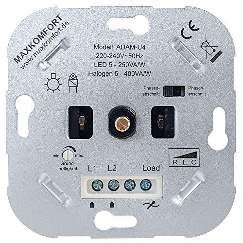 UNIVERSAL Dimmer LED 230V Unterputz R,L,C Dreh-dimmer Einsatz geeignet für LED 5-250W und Halogen 5-400W Druck-Wechselschalter Dimm-schalter