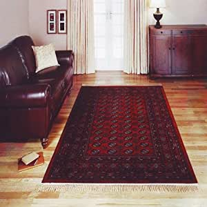 Tabriz Bokhara Tapis traditionnel Rouge Aspect soie 120 x 170 cm
