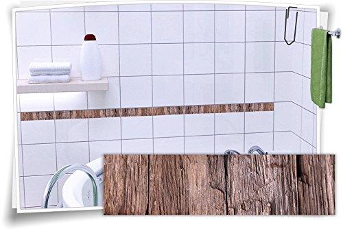 Fliesenaufkleber Fliesenbordüre Bordüre Fliesen Holz Kachel Aufkleber, 20  Stück, 25x6,5cm (BxH