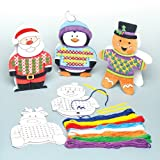 Baker Ross Kit per Biglietti d'auguri con personaggi natalizi a punto croce per bambini, da creare ed esporre a Natale - Giocattolo creativo fai da te per bambini e principianti (confezione da 5)