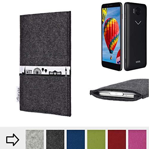 flat.design für Vestel V3 5030 Schutztasche Handy Hülle Skyline mit Webband Wien - Maßanfertigung der Schutzhülle Handy Tasche aus 100% Wollfilz (anthrazit) für Vestel V3 5030